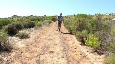 Man hiking in nature on wild trail — Stock Video