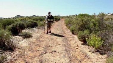Man hiking through a wild terrain — Stock Video