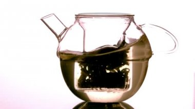 Water swirling around loose tea in teapot — 图库视频影像