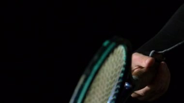 Hand spinning a tennis racket — Vídeo de stock