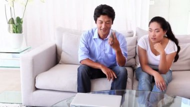 Woman fed up as boyfriend ignores her — Video Stock