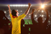 Football fan in yellow jersey — Stock Photo