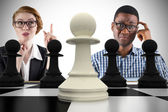 Business people with chessboard — Stock Photo