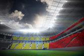 Belgium flag against football stadium — Stockfoto