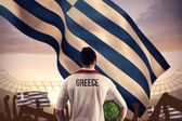 Greece football player holding ball — Stok fotoğraf