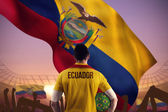 Ecuador football player holding ball — Foto Stock