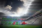 Algerian flag against football stadium — Stockfoto