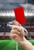 Hand, die rote Karte — Stockfoto
