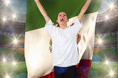Football fan in white cheering — Foto de Stock