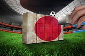 Hand building wall of  japan flag — Stockfoto