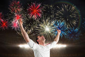 Excited football fan cheering — Stockfoto