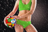 Girl holding flag ball — Stock Photo