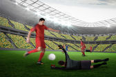 Football match in progress — Stock Photo