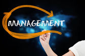 Businesswoman writing word management — Stock Photo