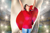 Football fan holding japan flag — Stock Photo