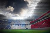 France flag against football stadium — Stock Photo