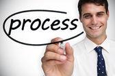 Businessman writing word process — Stock Photo