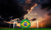 Football in brasil colours — Stock Photo