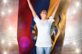 Football fan in white cheering — Stock Photo