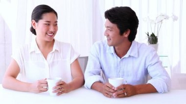 Asian couple spending morning — Vídeo Stock