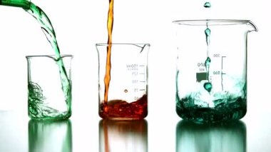Chemical liquids pouring into beaker — Stock Video