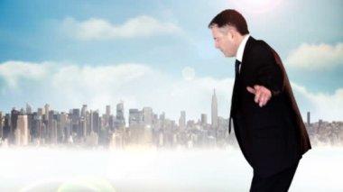 Businessman walking across tightrope — Stock Video