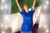 Football fan holding italy flag — Stock Photo
