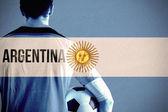 Argentina football player holding ball — Stock Photo