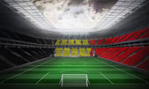 Belgian national flag against football stadium — Stock Photo