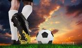 Pleine forme ballon de football boot — Photo