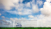 Football in greece colours — Stockfoto
