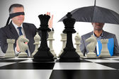 Businessmen with chessboard — Stock Photo