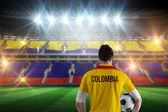 Colombia football player holding ball — Stock Photo