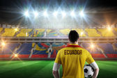 Ecuador football player holding ball — Stock Photo