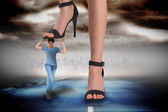 Businessman stepping on girl — Stock fotografie