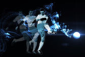 Football player kicking — Stock Photo