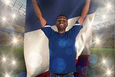 Football fan holding france flag — Stock Photo