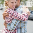 Couple in denim hugging each other — Stock Photo #48328189