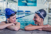 Swimmers in the swimming pool — Стоковое фото