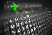 Black departures board for cities — Stock Photo
