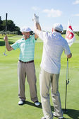 Golfing friends high fiving on the eighteenth hol — Stock Photo