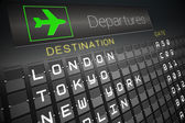 Black departures board for major cities — Stock Photo
