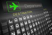 Black departures board for major cities — Stock Photo