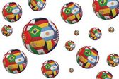 Footballs in international flags — Stock Photo