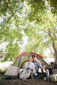 Couple in their tent after a hike — 图库照片