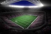 Large football stadium with lights — Foto de Stock