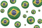Footballs in brasil flag colours — Stock Photo