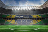 Vast football stadium with goal — Stock Photo