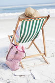 Woman in deck chair — Stock Photo