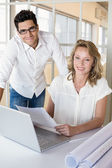 Casual business partners smiling — Stock Photo